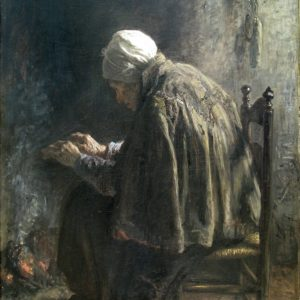 """Oude vrouw bij de haard zeer waarschijnlijk gebaseerd op """"Als men oud wordt"""", door Jozef Israels"""