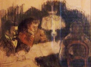Karel Lotsij en zijn vrouw Wien aan de eettafel