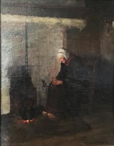 boerin die voor de haard een rozenkrans bidt