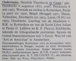 1969 opgenomen in encyclopedie Van Scheen: in Lexicon Nederlandse Beeldende Kunstenaars 1750-1950, door P.A. Scheen, 1969