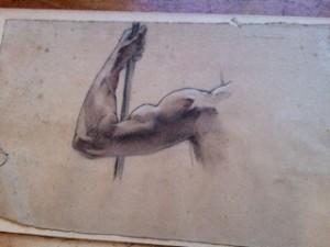 """Linker arm: voorstudie voor tekening """"Mannelijk naakt op de rug gezien"""""""