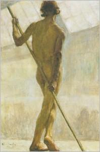 Mannelijk naakt op de rug gezien