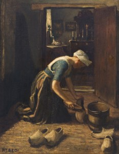 vrouw schuurt klompen