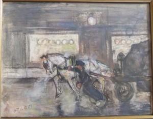 Paard met kolenkar