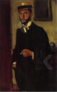 portret van Hendrik de Court Onderwater, gedateerd 1901 Door Jacob Dooijewaard