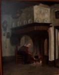 vrouw met poes voor een ketel op het vuur