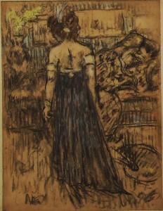 vrouw in avondjurk toneel