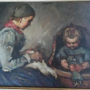Volendammer visser, moeder met peuter in kinderstoel, zittende vrouw met kopje
