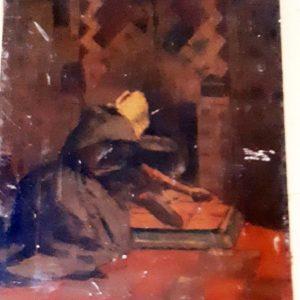 Schilderij: vrouw veegt as bij elkaar, voor de haard,