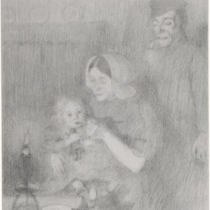 Twee tekeningen: Gezin (1900) en Een meisje in donkere kleding (Laren) en een schets (1898)